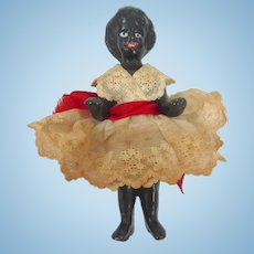 Antique Black GERMAN Frozen Charlotte Badekinder DOLL w Original Dress