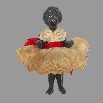 Antique Black GERMAN Frozen Charlotte Badekinder DOLL w Original Dress