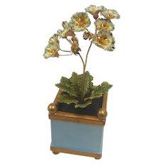 Rare 1978 Jane HUTCHESON Enamel Miniature FLOWERS in Sky Blue/Gold Jardiniere Planter