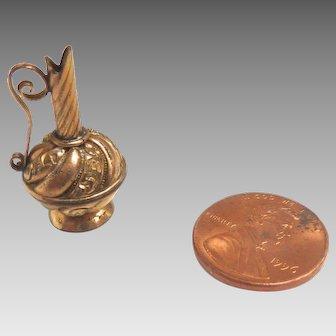 Antique GERMAN Dollhouse Miniature ORMOLU Gilt Gold Pitcher