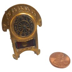 Antique GERMAN Erhard Sohne Art Deco Dollhouse Miniature Ormolu Metal CLOCK