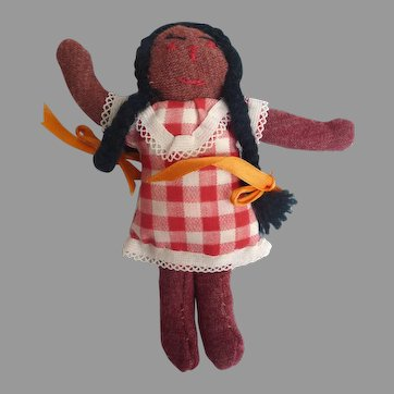 "1930's Handmade FOLK ART Primitive Cloth Rag Doll 6"" Brown Stocking Braided Hair"
