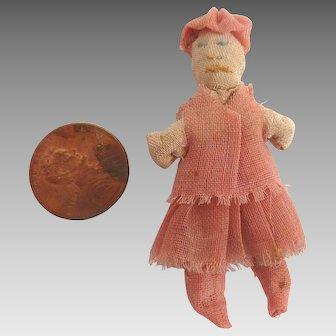 "1930's Dollhouse 2.25"" Miniature Handmade FOLK ART Cloth Stocking Rag Doll"