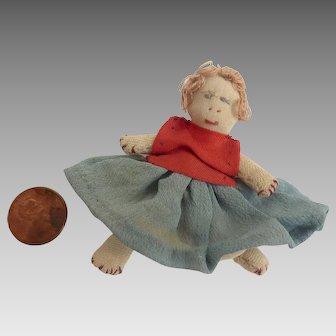 "1930's Dollhouse 2.5"" Miniature Handmade FOLK ART Cloth Stocking Rag Doll"