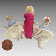 "3 Tiny 2"" GERMAN Miniature Bisque Frozen Charlotte Bonnet Head DOLLS w Dresses"