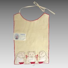 Finest MARGHAB Portugal Hand Embroidered 'Three Little Pigs' Bib