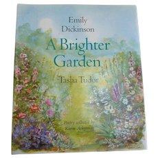 SIGNED Tasha TUDOR 'A Brighter Garden' Children Illustrated Emily Dickinson POETRY Book