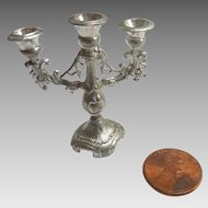 Antique GERMAN Silver DOLL HOUSE Miniature Candelabra