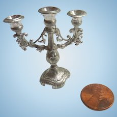 Antique GERMAN Silver DOLL HOUSE Miniature Candelabra