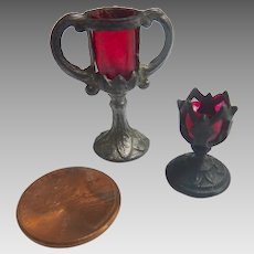 1910 GERMAN Dollhouse Metal & Celluloid Miniature Ruby Red Loving Cup & Goblet