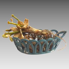 Antique GERMAN Blue Metal Dollhouse Basket w Flowers