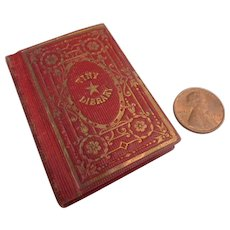Scarce 1850  Miniature 'Tiny Library' Doll Doll House BIBLE Book