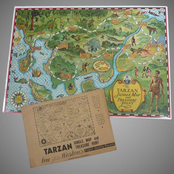 Rare TARZAN 1933 Jungle Map & Treasure Hunt GAME Weston Bisquit Mailer on map food, map clocks, map colors, map luggage tags, map magnets, map napkins, map boxes, map party favors, map plastic, map of peru, map pencils, map downtown los angeles, map ties, map brochures, map test sheets, map name tags, map rubber stamp, map scales, map markers, map stickers,