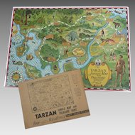 Rare TARZAN 1933 Jungle Map & Treasure Hunt GAME Weston Bisquit Mailer ENVELOPE