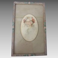 Finest Antique Painted BARBOLA Gesso FLORAL Roses FRAME w Boileau FRENCH Print
