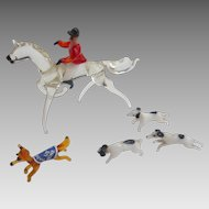 Vintage 1945 GERMAN Blown Glass FOX Hunting Set w DOGS & Equestrian HORSE