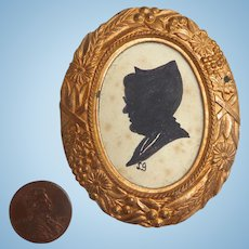 Antique Hand painted Miniature FRAMED Silhouette for DOLL HOUSE Gold Gilt