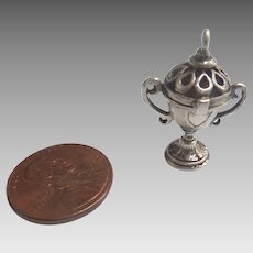 "1800's Tiny 1"" STERLING Silver Miniature Doll DOLLHOUSE Trophy Urn that OPENS Fob Vinaigrette"