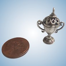 """1800's Tiny 1"""" STERLING Silver Miniature Doll DOLLHOUSE Trophy Urn that OPENS Fob Vinaigrette"""