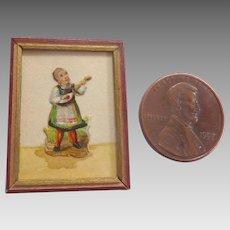 Antique Framed GERMAN Dollhouse Miniature Watercolor Die cut Picture