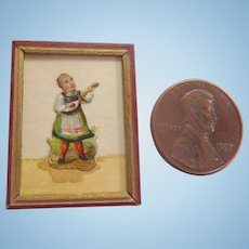 Antique Framed GERMAN Dollhouse Miniature Watercolor Die cut Picture