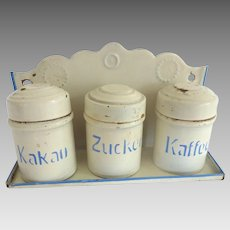 Antique GERMAN Marklin TIN Dollhouse Miniature Canister Set w Rack