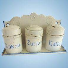 Antique GERMAN Marklin TIN Dollhouse Miniature Canister Set w Rack