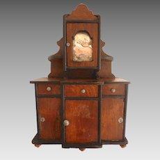 Antique GERMAN Schneegas Dollhouse Mirrored Bureau HUTCH Sideboard