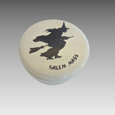 Vintage 1970's Handmade HALLOWEEN Salem Massachusetts WITCH on Broom Souvenir Covered JAR Made in USA