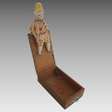Antique GERMAN Mechanical CLOWN Surprise 'Jack in' BOX