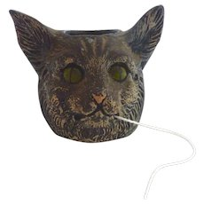 RARE Cold Painted GERMAN Austrian Novelty CAT Figural String Holder