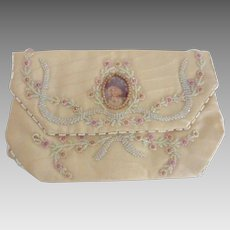 Stunning FRENCH Hand Beaded Moire SILK Clutch Portrait PURSE w Provenance