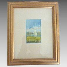 SIGNED Nancy RICKER Rhett Original Watercolor SAILBOAT Painting Beaufort SC