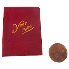 1906 Petite Leather Miniature CALENDAR Book for DOLL