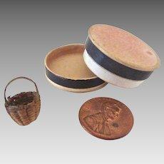 "Old Teeny TINY 3/8"" Miniature Hand WOVEN Woodland INDIAN Dollhouse Miniature BASKET"
