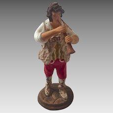 Italian Neopolitan Creche Presepe Nativity Armando Del GIUDICE Terra Cotta Boy with HORN Figurine
