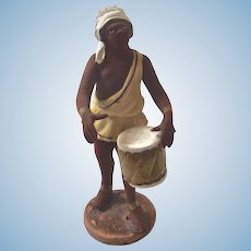 Italian Neopolitan Creche Presepe Nativity SIGNED Terra Cotta DRUMMER Figurine