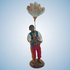 Italian Neopolitan Creche Presepe Nativity Armando Del GIUDICE Terra Cotta Feather FAN Figurine