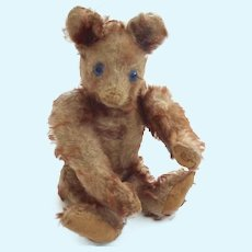 RARE Antique STEIFF 1928-30 PETSY Cinnamon Tipped Mohair BLUE Eyed TEDDY Bear w Underscore ff Button GERMANY