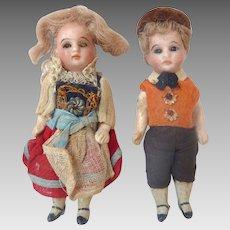 "4"" Tiny GERMAN Antique FRENCH Market Miniature GLASS eyes Swivel Head Bisque DOLLHOUSE Dolls"