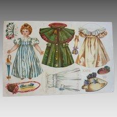 1899 McLoughlin Bros. UNCUT Lithograph PAPER DOLL Katie