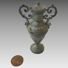 """Antique 3"""" GERMAN Soft Metal PEWTER Dollhouse Miniature Covered Ornate URN"""