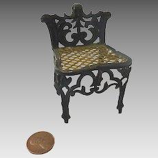 "Antique GERMAN 3"" Rococo soft metal DOLLHOUSE Miniature Doll Chair"