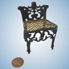 "Antique GERMAN 3"" Rococo soft metal DOLLHOUSE Miniature Doll Chair"