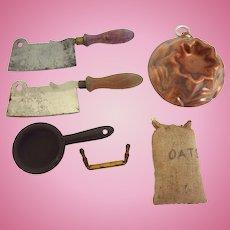 Antique GERMAN Dollhouse Miniature Kitchen BAKERY Accessories Knives Copper Mold Etc