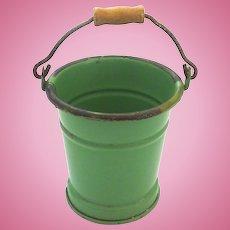 Antique GERMAN Spring GREEN Tin DOLL Dollhouse Miniature PAIL Bucket