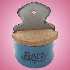 Antique GERMAN DOLL HOUSE Miniature Enamelware Tin SALT 'Salz' Box for Kitchen