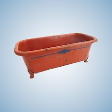 Antique GERMAN Art Deco Tin Toy DOLL Red Bathtub TUB Clawfoot