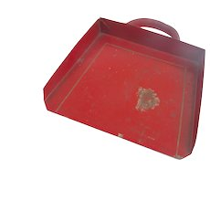 Vintage RED Gold German Toy Tin Doll Dust Pan