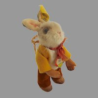 ~Rare STEIFF Mohair BIB Easter Bunny Rabbit  w Basket ID's